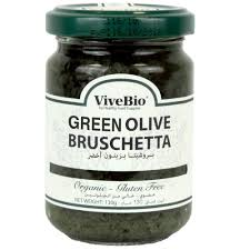 vivebio organic gluten free green olive bruschetta 130g