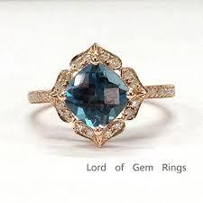 topaz engagement ring 499 cushion london blue topaz engagement ring pave diamond wedding