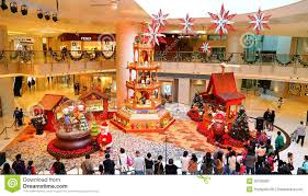 christmas decoration at shopping mall editorial stock photo