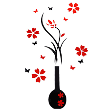 traditional wall decor promotion shop for promotional elegant stereo decoration art wall decor sticker easily removed round vase red plum blossom stickers chinese style