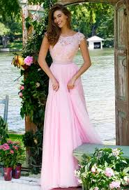 bead lace cap sleeve bateau neck a line long pink chiffon prom