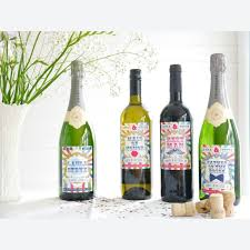wine bottle bow personalised wine label circus multi coloured bow tie