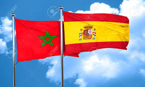 Spain Flags Morocco Flag With Spain Flag 3d Rendering Stock Photo Picture