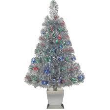 fiber optic christmas tree artificial silver prelit xmas lights