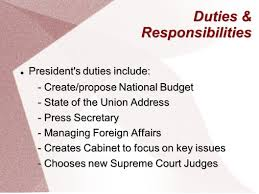Cabinet Responsibilities Executive Branch Executive Office President President Vice