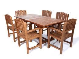 all things cedar 7pc rectangle table teak dining arm chair set