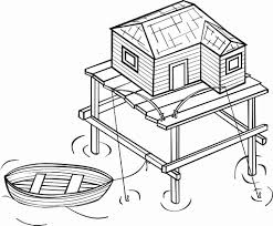 coloring page stilt house img 16117