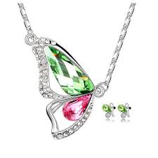 green crystal necklace set images Buy online necklace set butterfly shaped pendant set white gold jpg