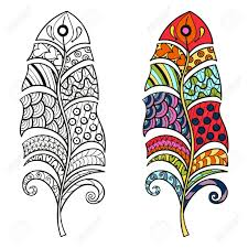 zentangle stylized tribal color and monochrome feathers for