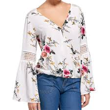 floral chiffon blouse 2017 autumn floral chiffon blouse tops flare sleeve shirt