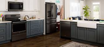 gray kitchen cabinets with black stainless steel appliances fingerprint resistant black stainless steel appliances