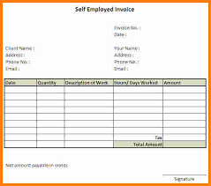 Self Employed Resume Sample 10 Invoice Template For Self Employed Ledger Paper