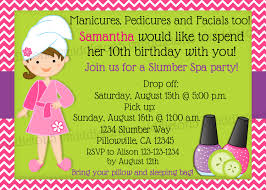slumber party spa party birthday invitation print your own 5x7 or