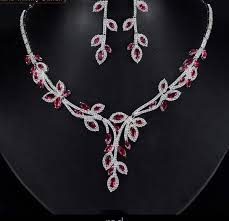 silver necklace set images Silver pink cubic zirconia leaf drop necklace set wonu ohio styles jpg