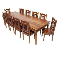 11 dining room set large rustic 11 pc solid wood dining table chair set for 10