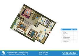 1 Bedroom Apartment Floor Plan Floor Plans Of Al Maha Tower Al Reem Island