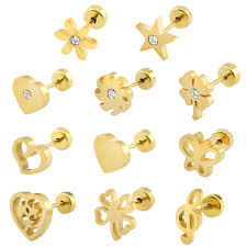 baby gold earrings lovely helix piercing earrings for women kids stud earrings
