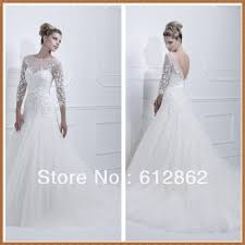 new arrival low back beaded lace a line long sleeve wedding gowns