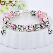 bracelet charm crystal images Bamoer hot sell european style silver crystal charm bracelet for jpg