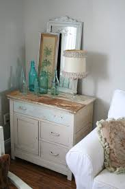 vintage glass bottles decor dining room shabby chic style with