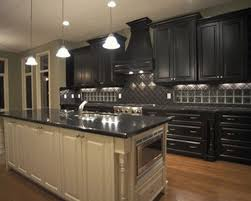 Black And White Laminate Floor Corner White Wooden Mixed Cherry Wood Kitchen Island Dark Kitchen