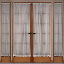 interior decor wooden door with white sheer door panel curtains