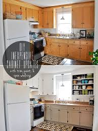 painting oak cabinets white before and after diy inexpensive cabinet updates beautiful matters