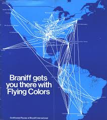 United International Route Map by Braniff International Airways Braniff Airways