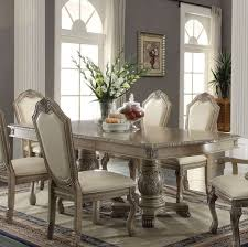 acme 64065 chateau de ville antique white double pedestal dining table