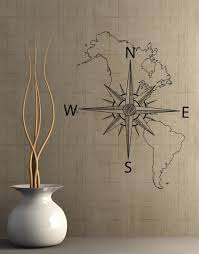 Map With Compass Nautical Map Of North U0026 South America W Compass Vinyl Wall Decal 601