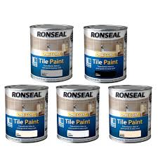 ronseal one coat tile paint satin 750ml kitchen bathroom tile