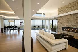 contemporary open floor plans pool table room living room contemporary with white leather sofa