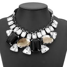 big chunky necklace images Luxury big crystal statement geometry ribbon chain chunky necklace jpg