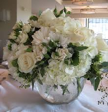 White Rose Centerpieces For Weddings by Bubble Bowl Centerpiece Of White Hydrangea Ivory Roses White