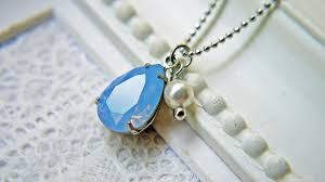 blue opal swarovski crystal air blue opal pendant necklace white pearl