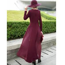 online shop 2015 summer autumn dress fashion casual wine red long