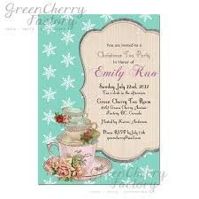 christmas tea party invitation snowflake tiffany blue background