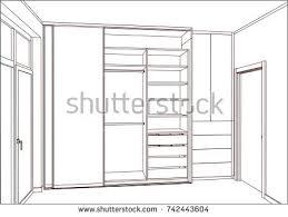 3d vector sketch empty wardrobe sliding stock vector 742443604