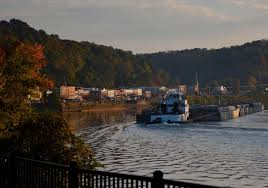 a road trip up the ohio river road trips with tom a coal barge makes its way upriver past pomeroy ohio
