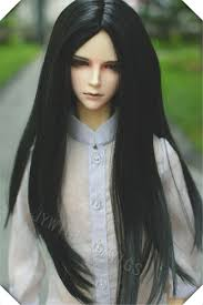 long black hair with part in the middle 1 3 bjd uncle doll wig black middle part hair long straight blonde
