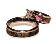 camo wedding band sets camo wedding set with pink ring and band