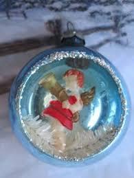 vintage italy diorama mercury glass manger