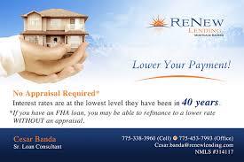 renew lending marketing postcards