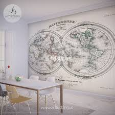 wall murals wall tapestries canvas wall art wall decor tagged antique world map hemisphere 1846 wall mural self adhesive peel stick photo