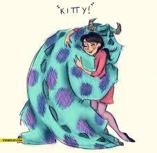 monsters kitty hug starecat