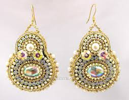 Sparkly Chandelier Earrings Beadfeast Home Of Handmade Bead Embroidered Jewelry Gold Sparkly