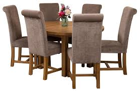 Dining Room Furniture Edmonton Edmonton Solid Oak Extending Oval Dining Table With 6 Washington
