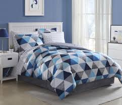 Blue And White Comforters Essential Home Complete Bedding Set Blue Triangles