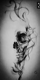 skull with smoke effect drawing by eline groeneveld