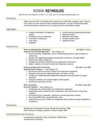 Hvac Resume Templates Hvac Technician Resume Resume Templates
